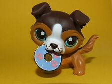 Littlest Pet Shop LPS - Brown Collie Dog Mouth Open w Disk #237