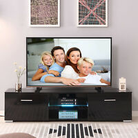 63'' High Gloss Black TV Stand Entertainment Units Cabinet LED Light W/2 Drawers