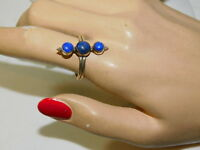 Lapis Blue Cabochon Stone Sterling Silver sz 8.5 Ring 8o 33