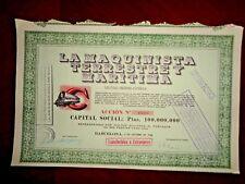 La Maquinista Terrestre y Maritima,Share certifate (large size) Spain 1948   VG