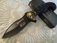 Mtech Ballistic Assisted Midnight Ops Gold Skull Combat Pocket Knife MT-A876BK