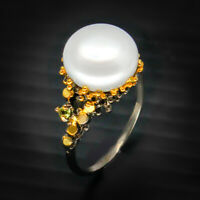 Popular Design 90s Fashion women Natural Pearl 925 Sterling Silver Ring / RVS47