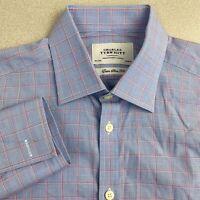 Charles Tyrwhitt Dress Shirt Mens 15.5 Blue Red Extra Slim Fit Check French Cuff