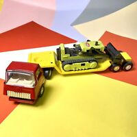 Tonka Truck Car Carrier Transporter Truck, Flatbed Trailer & Bulldozer Retro