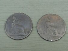 1877 & 1890 LOT OF 2 COINS BRITAIN One Penny 1 Pence Cent Queen Victoria