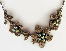£50 Baroque Gold Peach Pave Flower Pendant Necklace Swarovski Elements Crystal