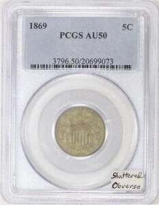 1869 Shield Nickel PCGS AU-50; Shattered Obverse Die Breaks!