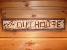 Rustic Adirondack Birch Bark Outhouse Sign Wood Twig Log Cabin Mountain Maine
