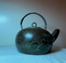 New listing Antique Chinese Qing Republic Coconut Wood-Like Pewter Teapot Calligraphy Scene