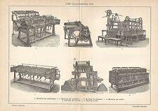A6391 Lavorazione del Lino - Stampa Antica del 1928 - Incisione