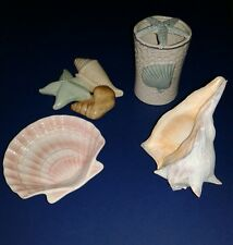4 Pc Bathroom Beach Decor Set Soap Dish Toothbrush Holder, Conch Shell, Wall Art
