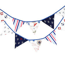 3.3M Pirate Handmade Vintage Cotton Fabric Flag Bunting Baby Nursary  -12 flags