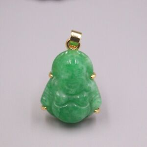 GP Heating Jade Pendant For Women Female Bless Green Buddha Lucky Charms Gift