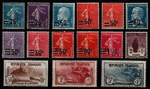 L'ANNÉE 1926 Complète, Neufs * = Cote 229 € / Lot Timbres France n°217 à 232