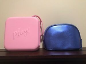 New Sephora Play Remedy Pink Hard Shell Makeup Case and La Mer Cosmetic Bag Blue