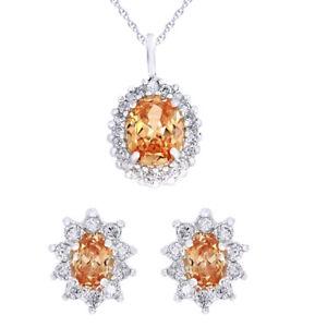 14K White Gold Finish Women's Genuine Citrine Necklace & Stud Earrings Set