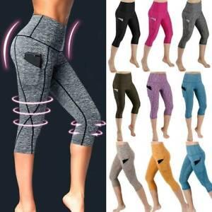 Women 3/4 Capri Yoga Pants With Pocket Ladies Gym Fitness Sport Cropped Leggings