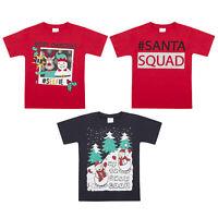 Kids Childrens Christmas T-shirt Xmas Novelty 100% Cotton Top Boys Girls Santa