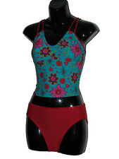 Ladies Swimming Costume Tankini Speedo Pattern Green Red Girls 2 Piece 34""