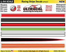 MG-6104-3 1/64 High Def UltraCal Racing Stripe Decals Style 3 Red White Stripe