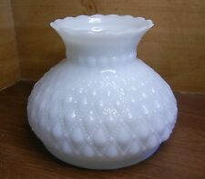 QUILTED DIAMOND-BEADED WHITE GLASS OIL LAMP SHADE w /BEADED COLLAR & NICE TOP