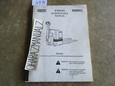 Nissan Barrett Forklift EWP (N) Maintenance Manual