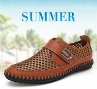 New US Mens Summer Beach Breathable Mesh Handmade Genuine Leather Shoes
