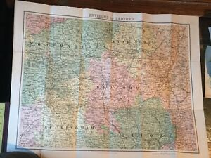 An early 20th Century map  W. H. Smith & Son Bartholemew map of Bedfordshire