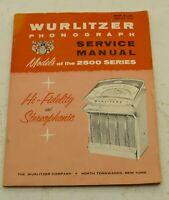 Vintage Original Wurlitzer Model 2500, 2504 and 2510 Service & Parts Manual