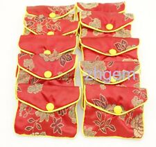 10PCS Gift Jewelry Bags Pouch 70mm*80mm Red Man-made Silk Gift BUTTON