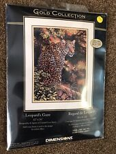 Dimensions The Gold Collection Cross Stitch Kit Leopards Gaze Jungle Leaves NEW