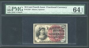 1869-75 10 CENTS FRACTIONAL CURRENCY FR1259 CERTIFIED PMG CHOICE UNCIRCULATED-64