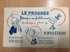 rare Ancien Buvard Publicitaire Journal le progrès BD Nimbus M Moustache Donald