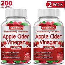 2 PACK - Apple Cider Vinegar  (200-Count)  Gummies 1-3 Day Delivery Time Organic