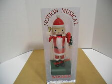 Motion Musical Keywind Wooden Nutcracker Plays Santa Claus is Coming to Town NEW