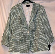 Emily NWT Cotton Spandex Turquoise Joined Links Black White Blazer Jacket-18W