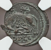 Roman Commemorative Romulus & Remus & She-Wolf 330-340AD NGC MS from Epfig Hoard