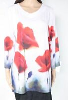 Trisha Tyler Women's Top White Size Large L Painted Floral V-Neck Tunic $78 #393