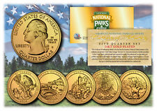 2012 America The Beautiful 24K GOLD PLATED Quarters Parks 5-Coin Set w/Capsules