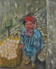 Vintage French Oil Painting, Boy Selling Eggs, Naive, Folk Art, Child, Market