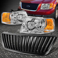 CHROME CLEAR HEADLIGHT+AMBER CORNER LIGHT+GRILLE GUARD FOR 03-06 FORD EXPEDITION