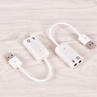 USB Sound Adapter to 3.5mm Mini Jack Audio & Microphone Mic for Skype PC Laptop_