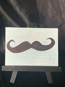 ACEO Original Mustash You Medium Black Ink Marker & Prismacolor on Paper Signed