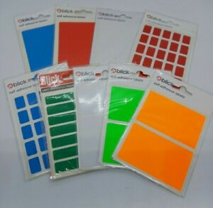 BLICK ADHESIVE LABELS - ALL COLOURS & SIZES IN  RETAIL PACKS - SOLD INDIVIDUALLY