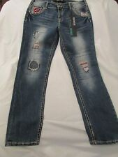 """Ladies """"Premiere"""" Size 11/12R, Blue, Destroyed, Patched, Low Rise, Skinny Jeans"""