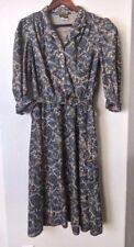 Stuart Alan Women's Vintage Dress 70's Paisley Polyester Boho 80's Belted