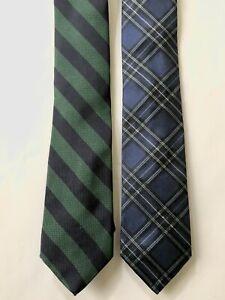 Brooks Brothers Makers & Merchants Green Stripe / Blue Tartan Silk Necktie Lot