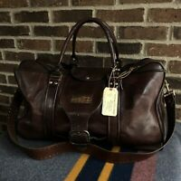 RARE VINTAGE 1970s BROWN THICK SADDLE LEATHER DUFFEL BAG w/ METAL ZIPPERS R$1598