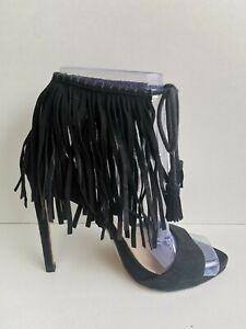 Zara Black Suede Ankle Fringe Tie Up High Heel Sandals 3.5 36