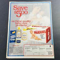 VTG Retro 1984 Kleenex Huggies Disposable Diapers National Baby Week Ad Coupon